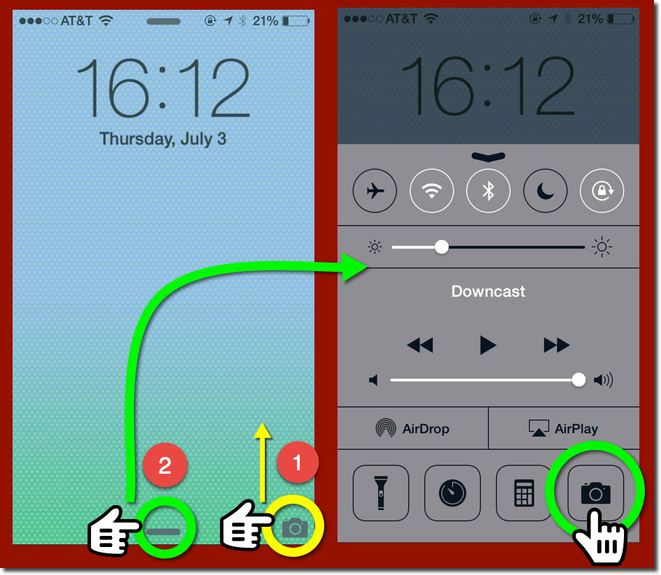 Two iPhone Lock Screens showing the controls to launch the camera and to bring up the Control Center