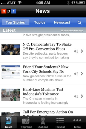 NPR News iPhone