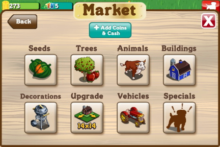 Buy stuff in FarmVille, for real.