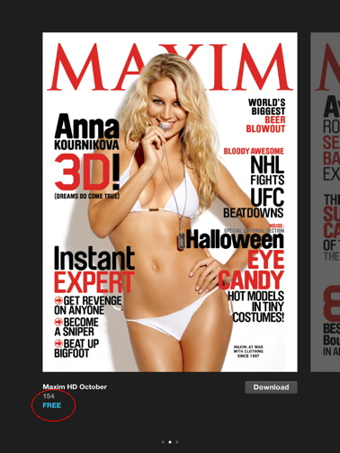 Maxim Oct. issue for free