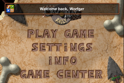 Game Center Welcome in game