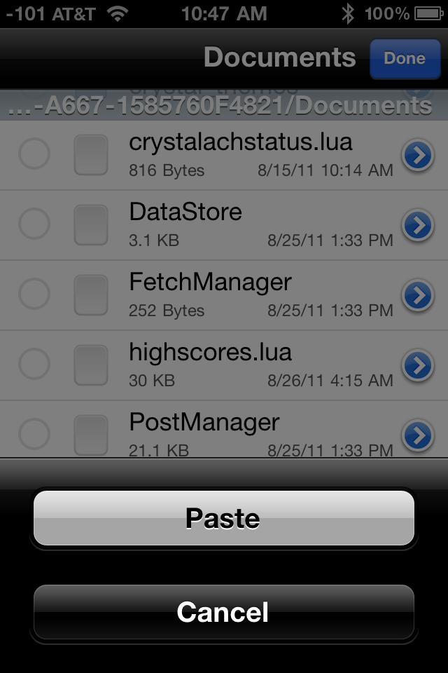 Select Paste to replace the iPhone's highscores.lua file with the one you copied from the iPad