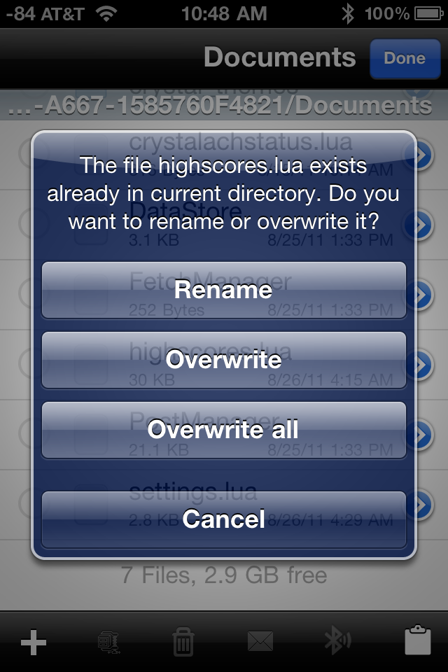 Tap Overwrite or Overwrite All here
