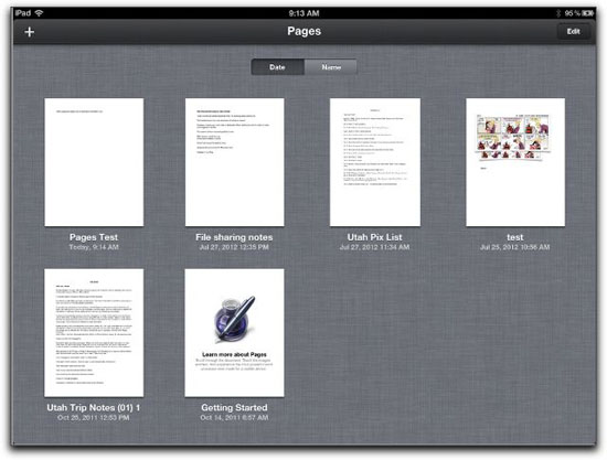 Opening Pages on an iPad