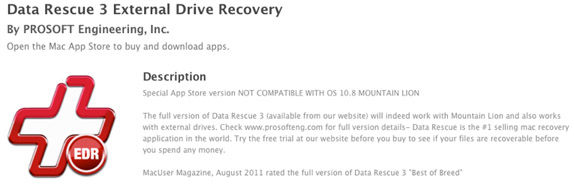 App Store page for Data Rescue