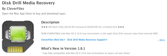 App Store page for Disk Drill