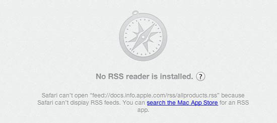 Safari's RSS message