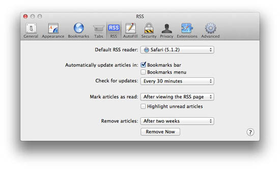 RSS preferences in Safari 5