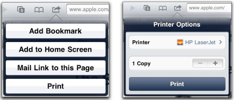 AirPrint options in Safari
