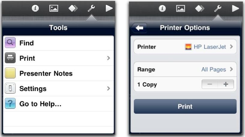 AirPrint options in Keynote