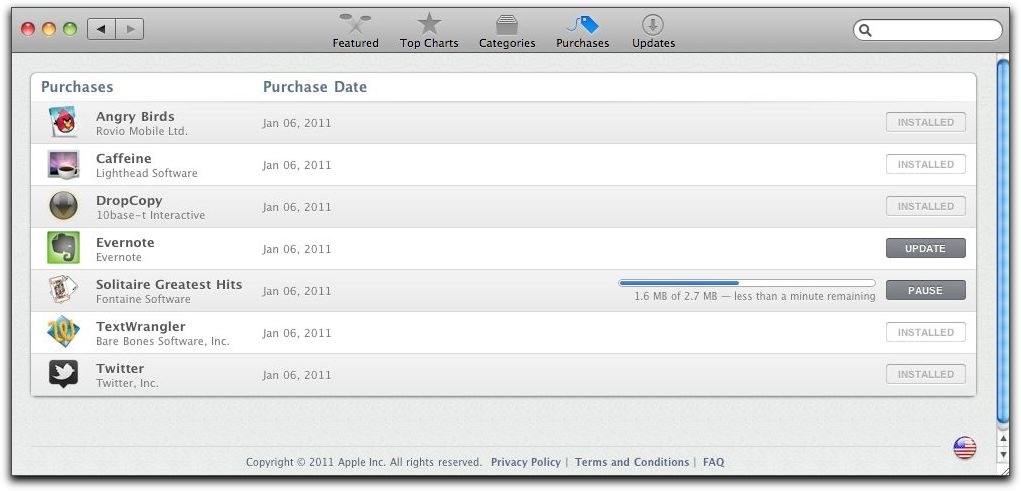 Mac App Store Purchases