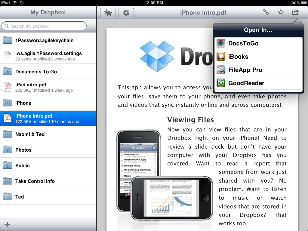 Better iOS File Sharing with Dropbox and DocsToGo – The Mac