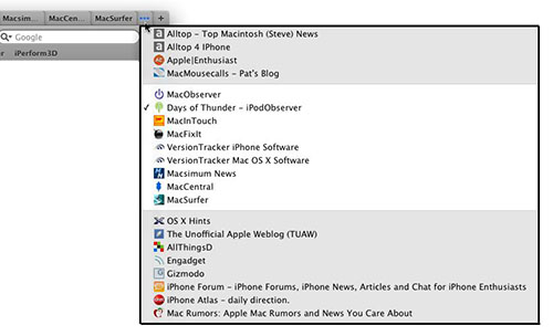 Safari 4 new tab interface menu