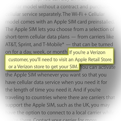 Apple SIM for iPad instructions to Verizon users