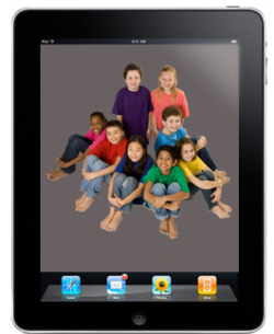 iPad displaying several children