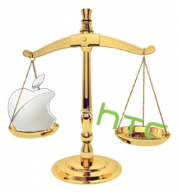 Apple and HTC logos in the scales of justice