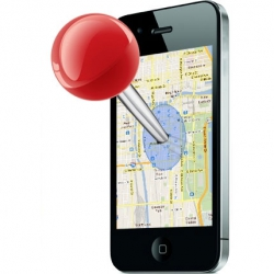 An image of a large red pin pushed into a map displayed on an iPhone screen