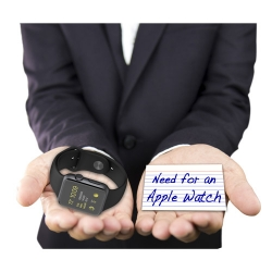 Hands weighing Apple Watch and Need for Apple Watch