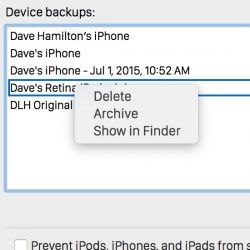 iTunes Screenshot with Backup Archive