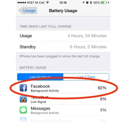iPhone Battery Usage view