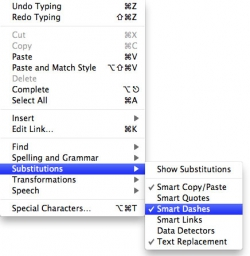 Substitutions in TextEdit