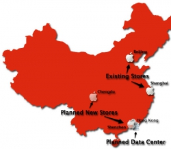 Map of Apple locations in China