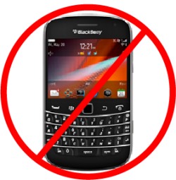 BlackBerry phone with prohibited symbol