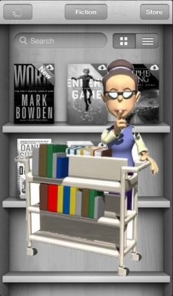 Cartoon Librarian character overlaid on the iBooks iPhone app.