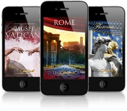 Three iPhones depicting scenes from Italian cities.