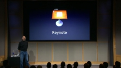 Steve Jobs on-stage talking about the Keynote application during a keynote presentation.