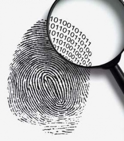 An image of a finger print being examined by a magnifying glass