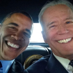 Vice President Biden takes a selfie with President Obama