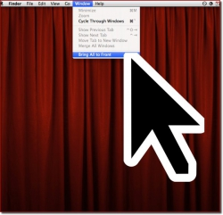An enormous system pointer on the Mac desktop