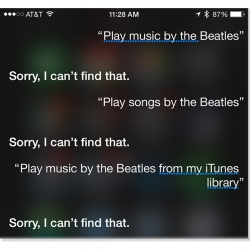 Siri can't find any of the 400+ Beatles songs in Dr. Mac's library. What's up with that?
