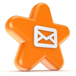 An orange star with an icon representing mail