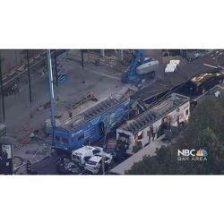A screenshot from NBC video of bus crash outside an Apple Store construction site