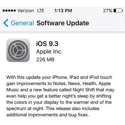 iOS 9.3 Install Screen