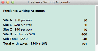 An Example Calculation Showing And Calculating Weekly Income