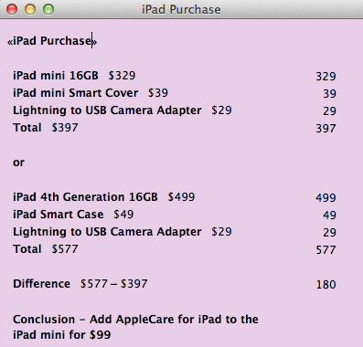 An Example Of A Calculation Scenario To Decide Which iPad To Purchase