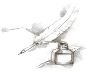 quill and pen