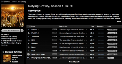 iTunes 9 TV episodes