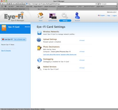 Eye-Fi Settings