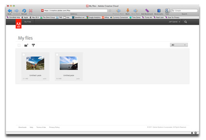 The Creative Cloud Web page is your only path for exporting files for Photoshop