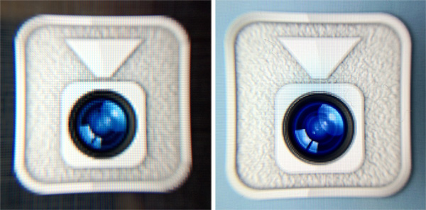 FaceTime icon on iPad 2 (left) and new iPad (right)