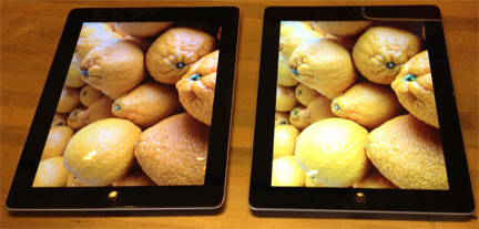 Oranges on iPad 2 (left) look like lemons on new iPad (right)