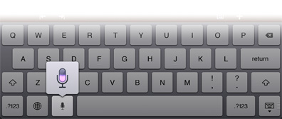Tap the microphone key to enable Voice Dictation