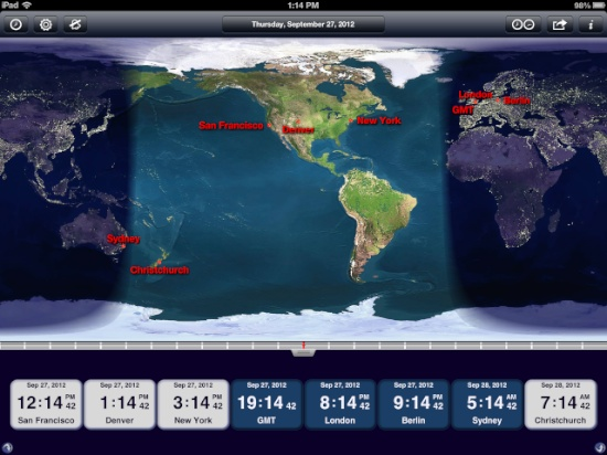 World clock for ipad is world class the mac observer andrei kolev has done that with the world clock for ios and it is awesome i wouldnt even bother with the free version instead just pony up three gumiabroncs