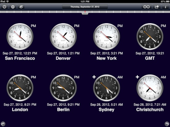 World clock for ipad is world class the mac observer a nice feature is the ability to touch the world map and drag the daynight zone in order to go back or forward in time all the clocks remain in sync gumiabroncs