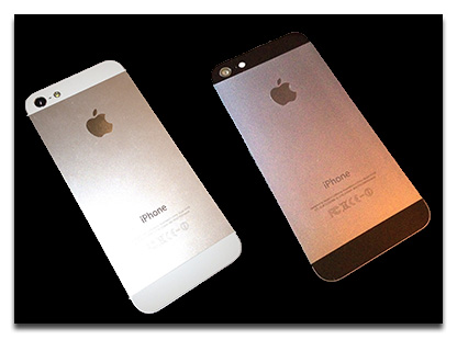 White and black iPhone 5: Brushed metal back