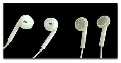 EarPods (left) offer better sound than Apple's old earbuds (right)
